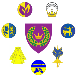 Arms of the East Kingdom encircled by the badges of the Orders of High Merit
