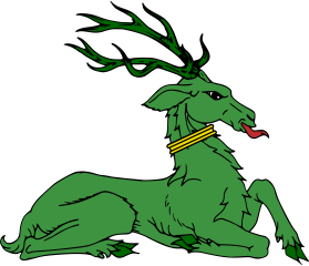 a heraldic green stag