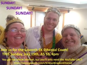 Photo of HRH and TRM with date, time, and web link for Ethereal Court